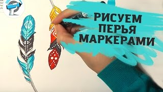КАК НАРИСОВАТЬ ПЕРЬЯ МАРКЕРАМИ | Уроки Рисования Маркерами от ARTMARKER.RU