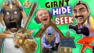 Смотреть клип GRANNY's HOUSE Hide 'n Seek! HELLO NEIGHBOR GIANT vs MINI THANOS (FGTEEV Funny Game Challenge) онлайн