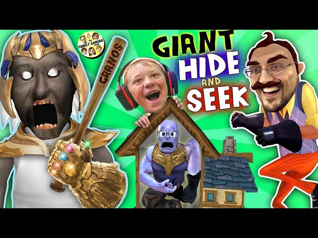 GRANNYs HOUSE Hide n Seek! HELLO NEIGHBOR GIANT vs MINI THANOS (FGTEEV Funny Game Challenge)