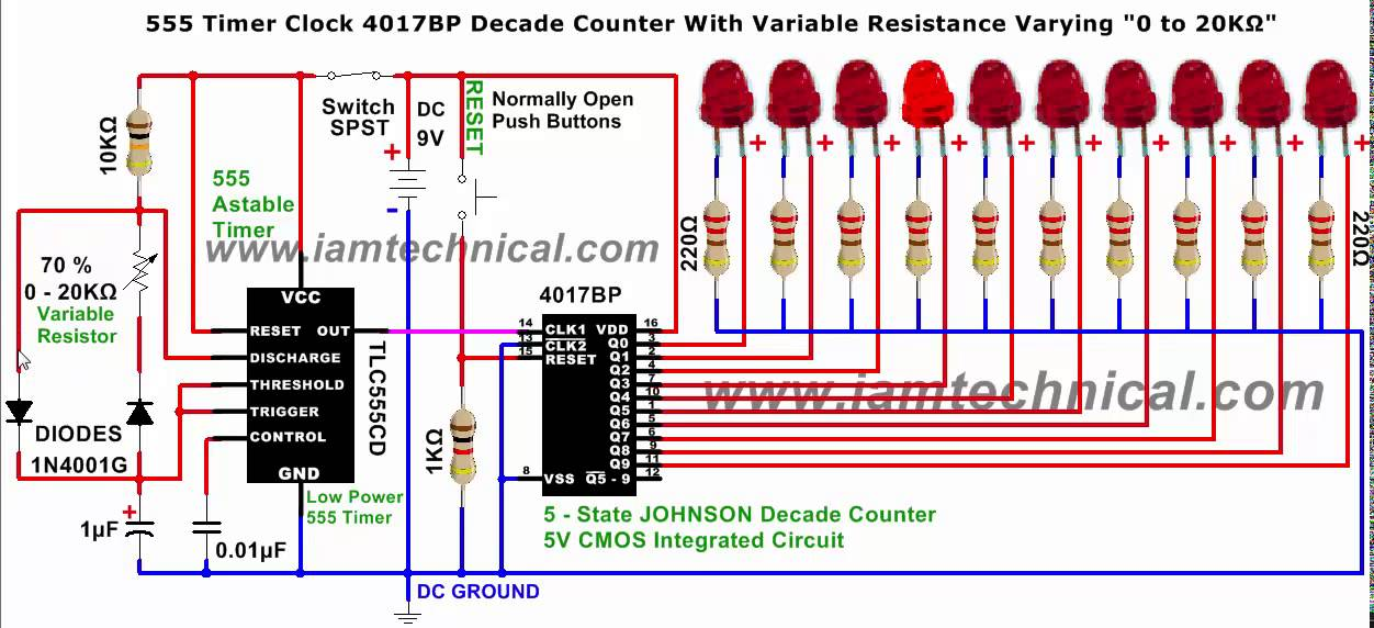 555 timer clock pulses to 4017 johnson decade counter with variable555 timer clock pulses to 4017 johnson decade counter with variable resistance varying at 0 to 20kΩ