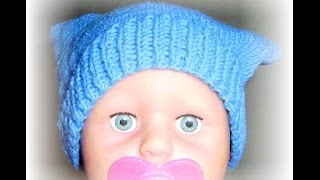 Детская вязаная шапка baby hat knitting pattern Вязание с LusiTen(Очень простая шапочка, связанная спицами для ребенка на 5-6 месяцев (объем головы 45). Изумительная мягкая..., 2015-04-04T19:27:05.000Z)