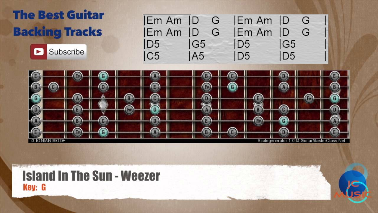 Island In The Sun Weezer Guitar Backing Track With Scale And