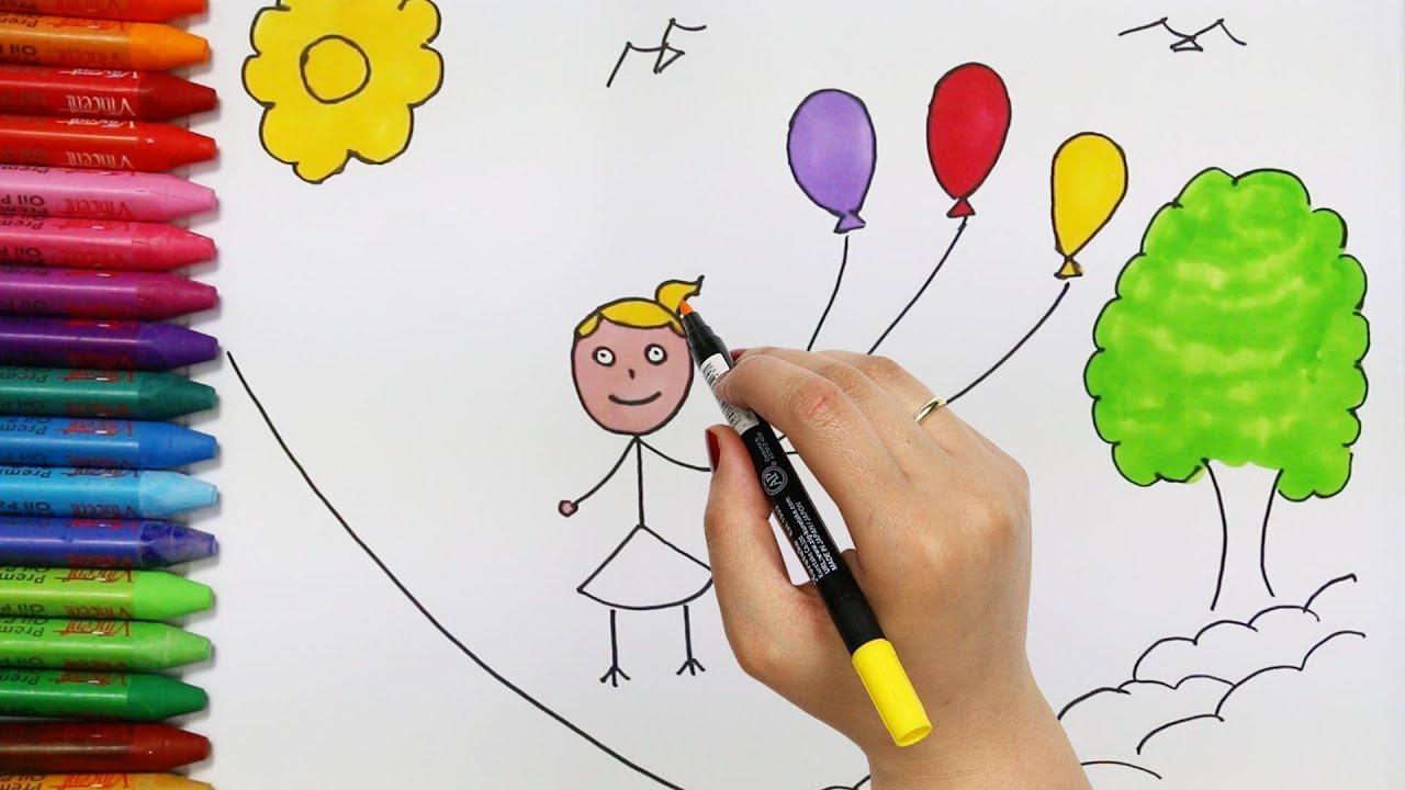 Wie zeichnet man Kinder und Luftballons   Zeichnen und Ausmalen für ...