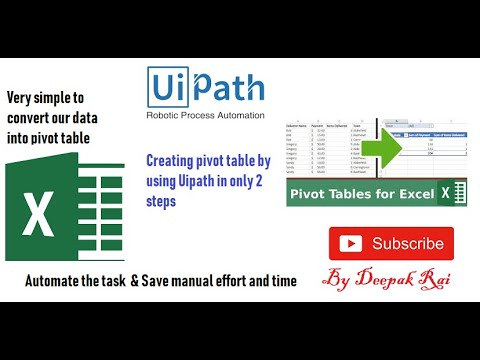 Uipath - How to create Pivot table by using uipath