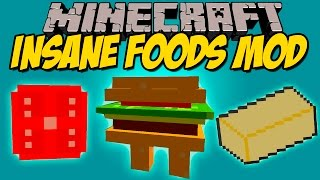 INSANE FOODS MOD - Hamburguesa viviente y comidas! - Minecraft mod 1.8 Review ESPAÑOL