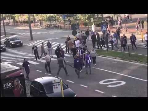Beerschot fans attacked by Royal Antwerp hooligans. 13.08.2017