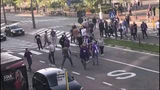 Beerschot fans attacked by Royal Antwerp hooligans. 13.08.2017