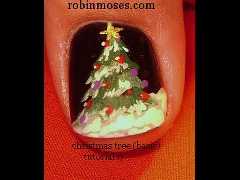 Diy easy christmas tree nails xmas nail art design for beginners