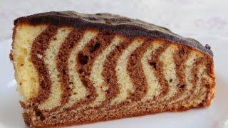 Пирог Зебра.  Вкусный рецепт пирога.  Время готовить.