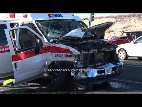 Ambulance Head On Traffic Collision / Apple Valley  RAW FOOTAGE