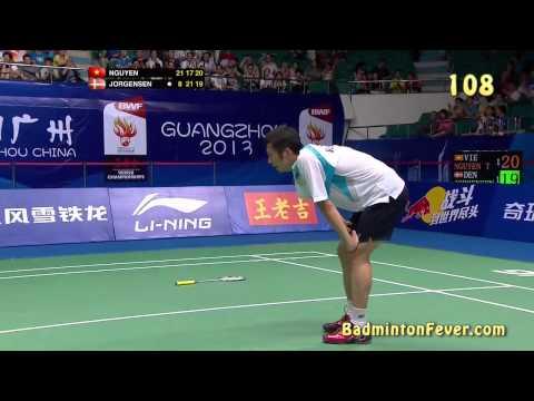 Dramatic end of match - Jan O. Jorgensen vs Nguyen Tien Minh - World Championships 2013