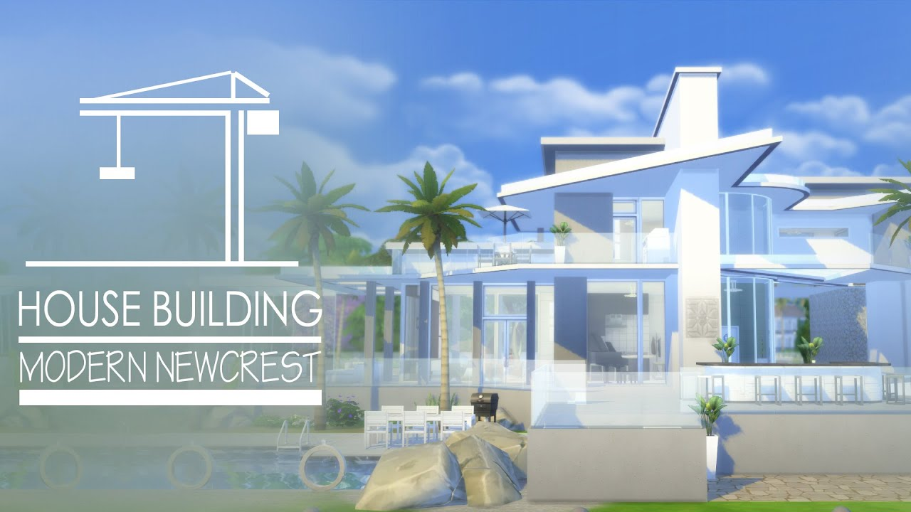 The sims 4 house modern newcrest youtube for Minimalist house sims 2