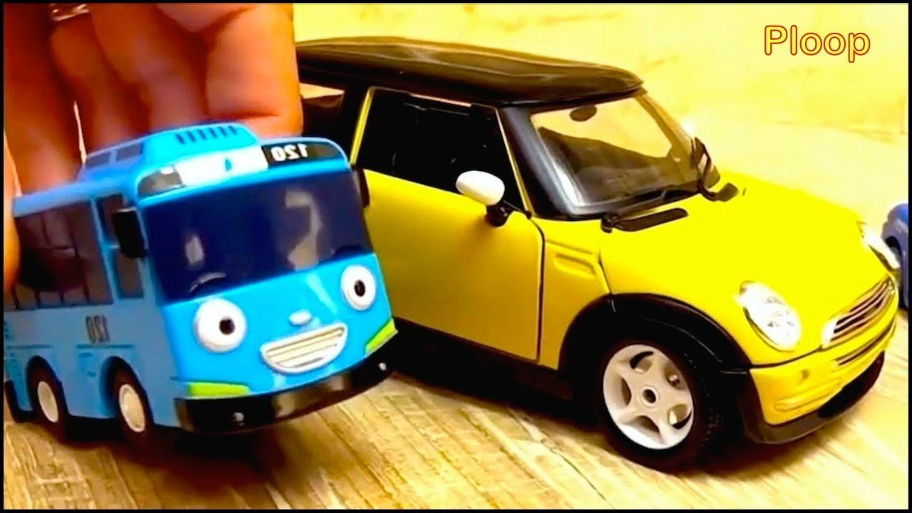 Tayo Meets Bussy Speedy Mini Cooper Toy Car Construction Videos