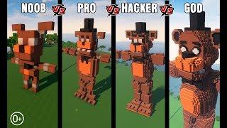 Майнкрафт битва: Нуб против Про против Хакера против Бога: Строим Фредди из ФНАФ в Майнкрафт!