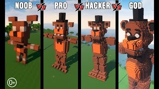 Minecraft Battle: NOOB vs PRO vs HACKER vs GOD: BUILD FNAF FREDDY FAZBEAR CHALLENGE in Minecraft