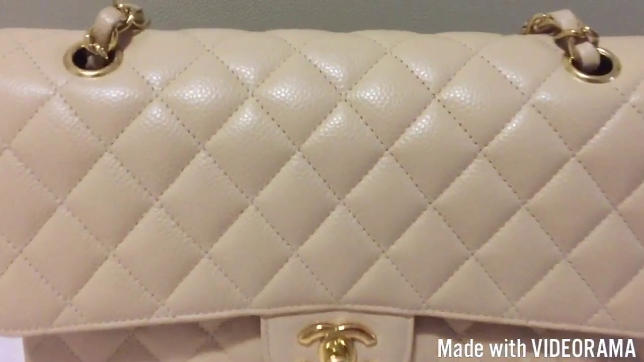 Chanel Classic Flap Medium Caviar Beige Claire Review 4 Years Wear And Tear
