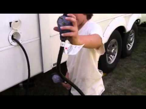 120v Pump Wiring Diagram How To Plug In The Electrical Cord On A 5th Wheel Rv Youtube