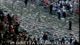 """Prepartita video d'epoca, telecronaca rai 2 in diretta dallo stadio heysel il 29 maggio 1985. voce di bruno pizzul. """"l'uomo allo bruxelles è stato ..."""