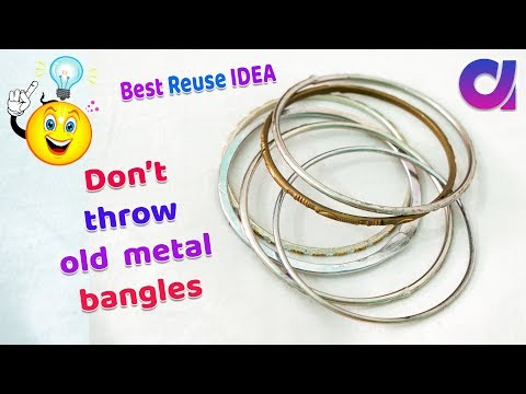 How to reuse old metal bangles/Best out of waste/old bangles reuse    Artkala