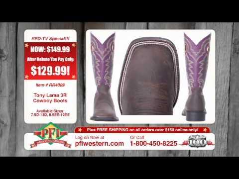 8e70de95039 Tony Lama Mens 3R Square Toe Cowboy Boots With Rebate