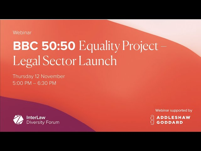 BBC 50:50 Equality Project: Legal Sector Launch