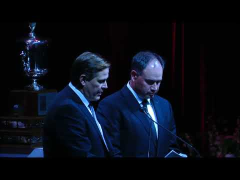 Randy Lee and Pierre Dorion speak at the memorial for Bryan Murray