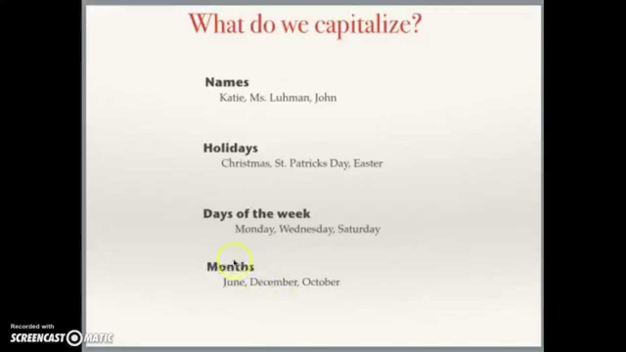 Capitalization Dates Lesson - YouTube