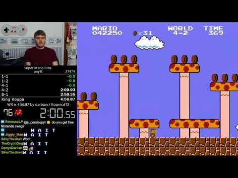(4:56.528) Super Mario Bros. any% speedrun *World Record*