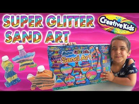 Детский набор с разноцветным песком. Kids set with a multicolored art sand