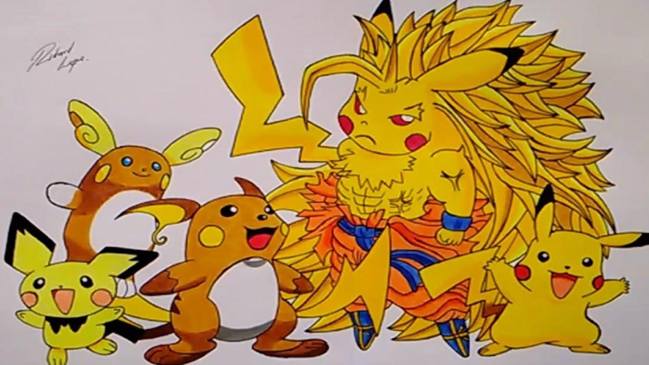 Cómo dibujar a Pichu, Pikachu, Raichu, Raichu Alola y Pikachu SSJ 3 ...