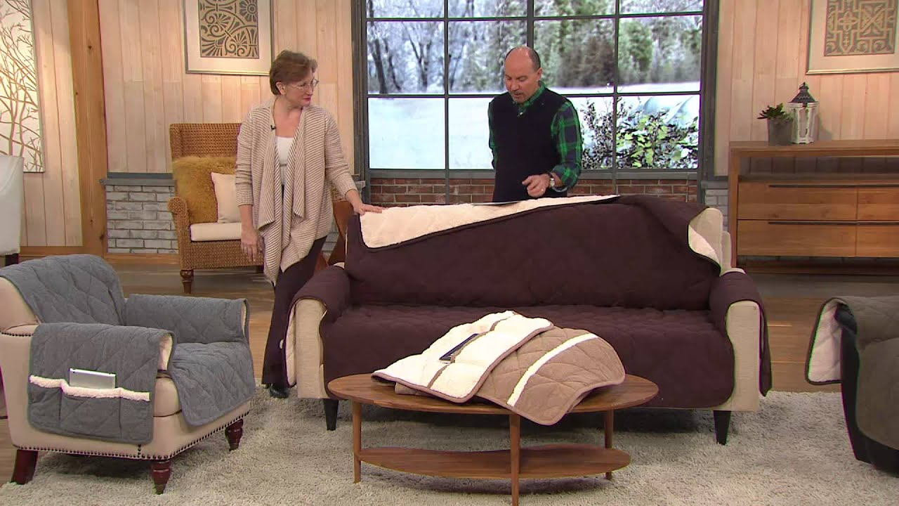 Sure Fit Reversible Flannel to Sherpa Sofa Furniture Cover with