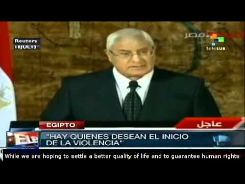 Adly Mansour vows to protect Egypt from chaos and violence
