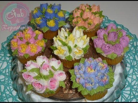 Cupcakes Decorados Con Flores Utilizando Boquillas Rusas