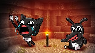 Underground Survival with... Baby Cartoon Cat & Cartoon Dog! (Minecraft)