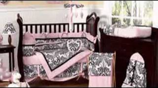 Pink And Black Sophia Baby Crib Bedding By Jojo Designs - Be