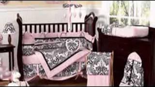 Pink And Black Sophia Baby Crib Bedding By Jojo Designs - Be