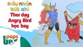 Hướng Dẫn Vẽ Thor Dạy Angry Bird Học Bay - Siêu Nhân Bút Chì | Bé Học Vẽ Tranh Và Tô Màu