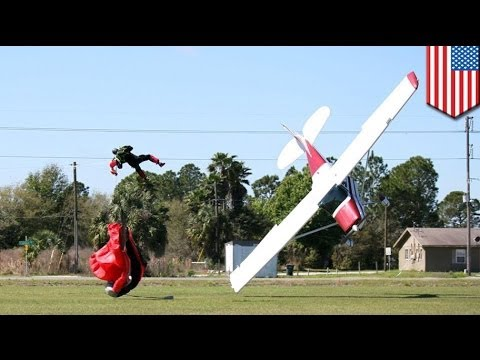 Skydiving accident: plane wing clips parachute, takes skydiver down