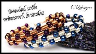 Beaded coils wirework bracelet