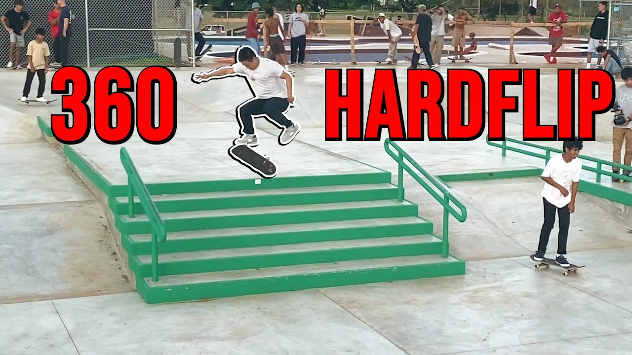 360 Hardflip Down The BIGGEST Stairs At The Skatepark!