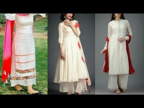 Latest Top 25 white plazzo kurti design ideas for girls
