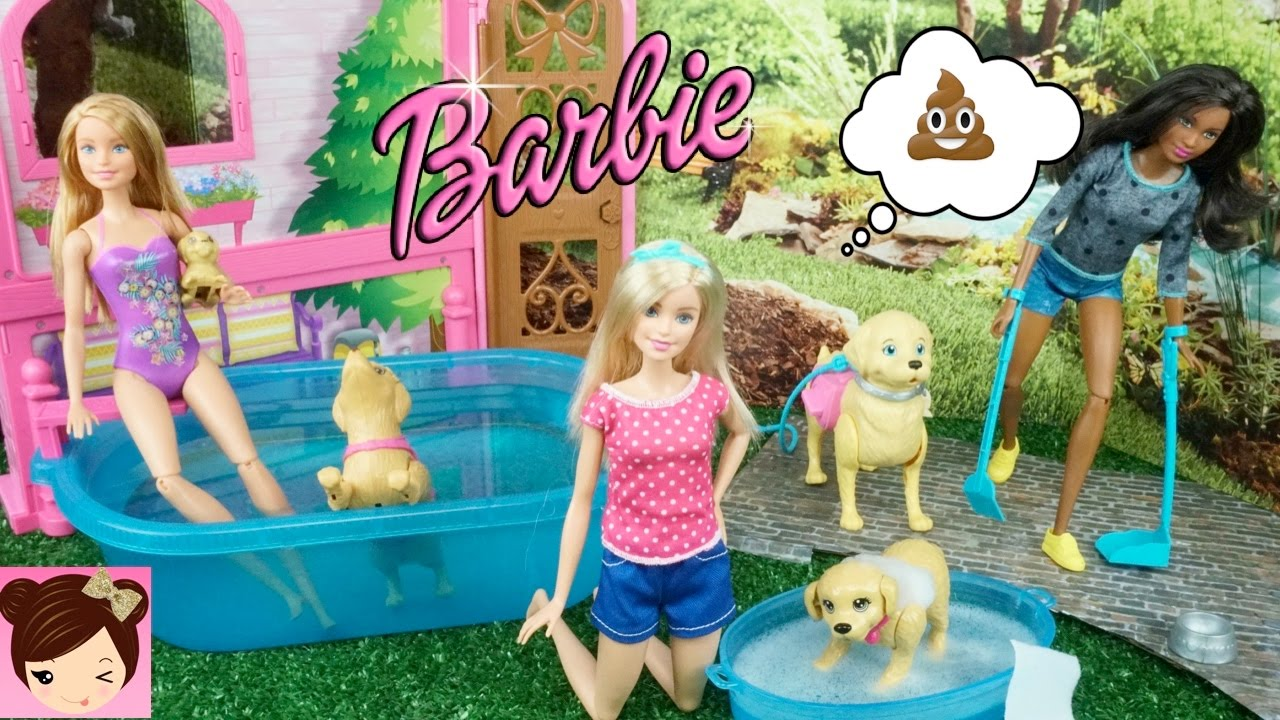 Barbie And Her Puppy Playing In The Swimming Pool Youtube