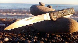 Фантастика! Заточка ножа на морской гальке!