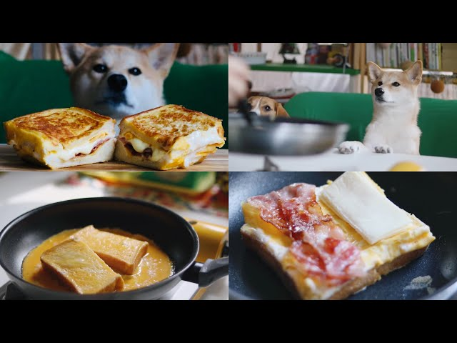 One pan - Egg toast! Easy & Quickly, French Toast Omelette Egg Sandwich
