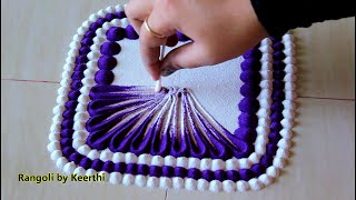 Very easy rangoli design using cotton buds and 2 colours l Rangoli for beginners l rangoli designs