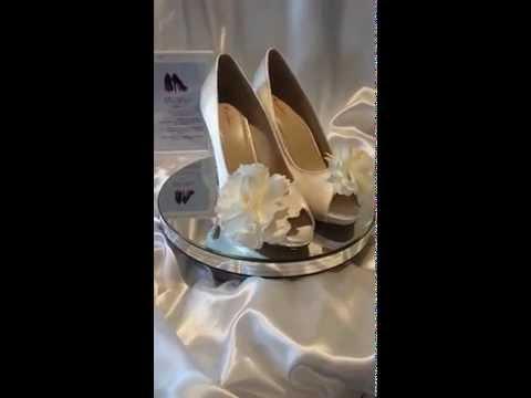 Ivory Satin Bridal Shoes - Swarovski AB Crystal and silk flower embellishments