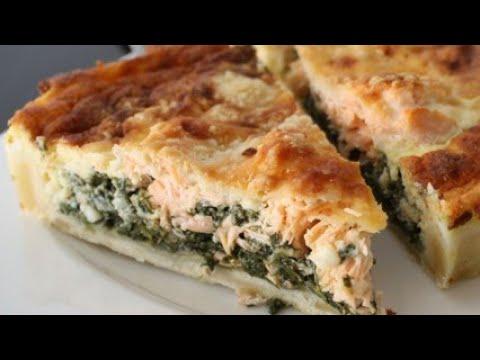 quiche-facile-et-délicieux-au-saumon-frais-et-épinards-كيش-بالسومون-لذيذ-جدا