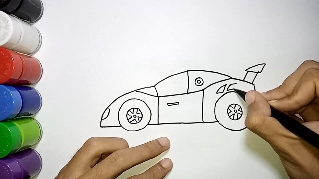 Tutorial Menggambar Mobil Balap Mudah Dan Bagus How To Draw A Sports Car Youtube