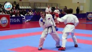 Финал женского командного кумитэ:  Инга Шерозия (Санкт-Петербург)  - Кристина Чемова (Новосибирск)