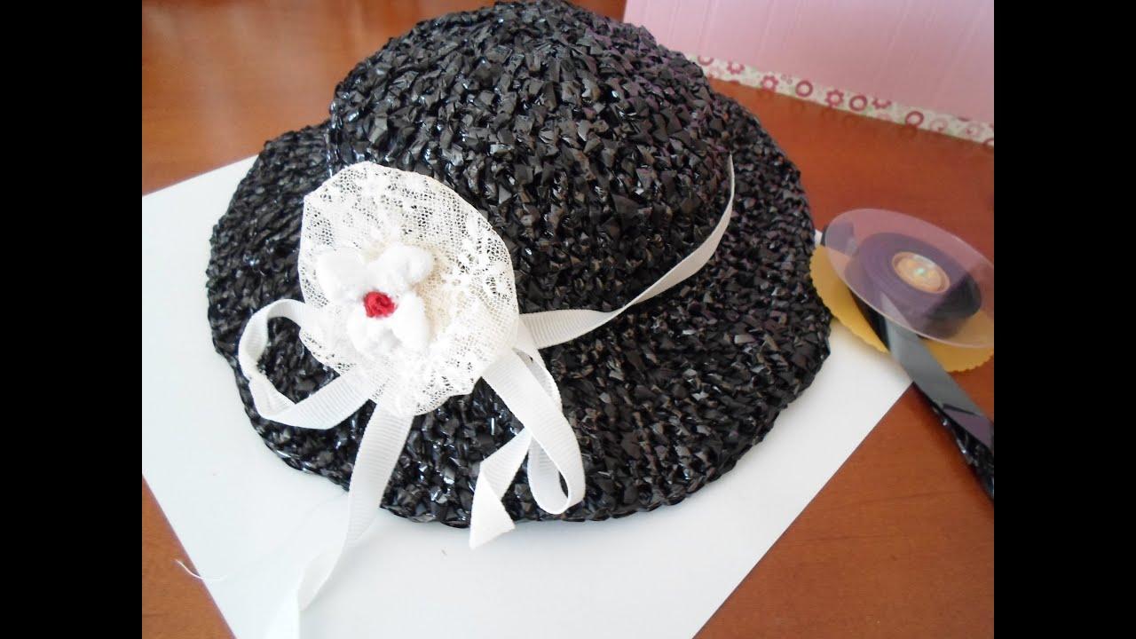 Sombrero tejido con material reciclado. - YouTube 24873fb9461